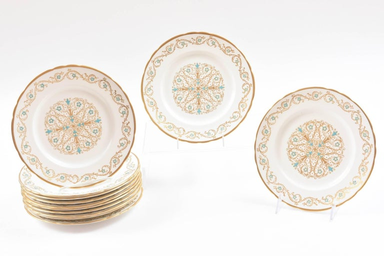 12 Vintage Dessert Plates, Turquoise and Gold by Tuscan, England In Good Condition For Sale In West Palm Beach, FL