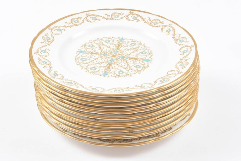 Mid-20th Century 12 Vintage Dessert Plates, Turquoise and Gold by Tuscan, England For Sale