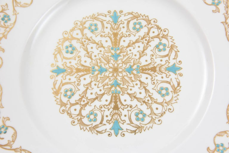 12 Vintage Dessert Plates, Turquoise and Gold by Tuscan, England For Sale 3