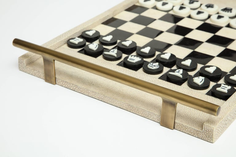 Art Deco Shagreen Chess Game, France Offered by Area ID For Sale