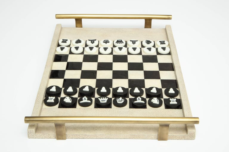 Hand-Crafted Shagreen Chess Game, France Offered by Area ID For Sale