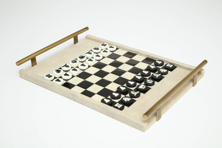 Shagreen Chess Game, France Offered by Area ID In Excellent Condition For Sale In New York, NY