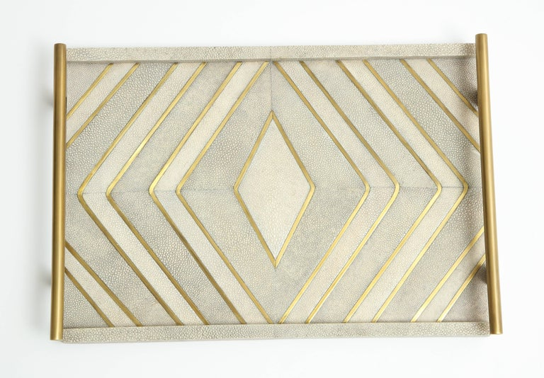 Art Deco Shagreen Tray With Bronze Details For Sale