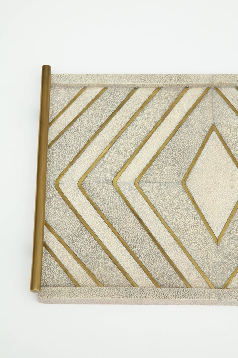 French Shagreen Tray With Bronze Details For Sale