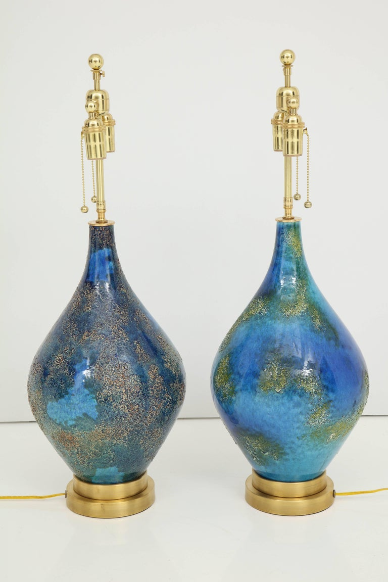 Pair of Volcanic Glazed Ceramic Lamps In Excellent Condition For Sale In New York, NY