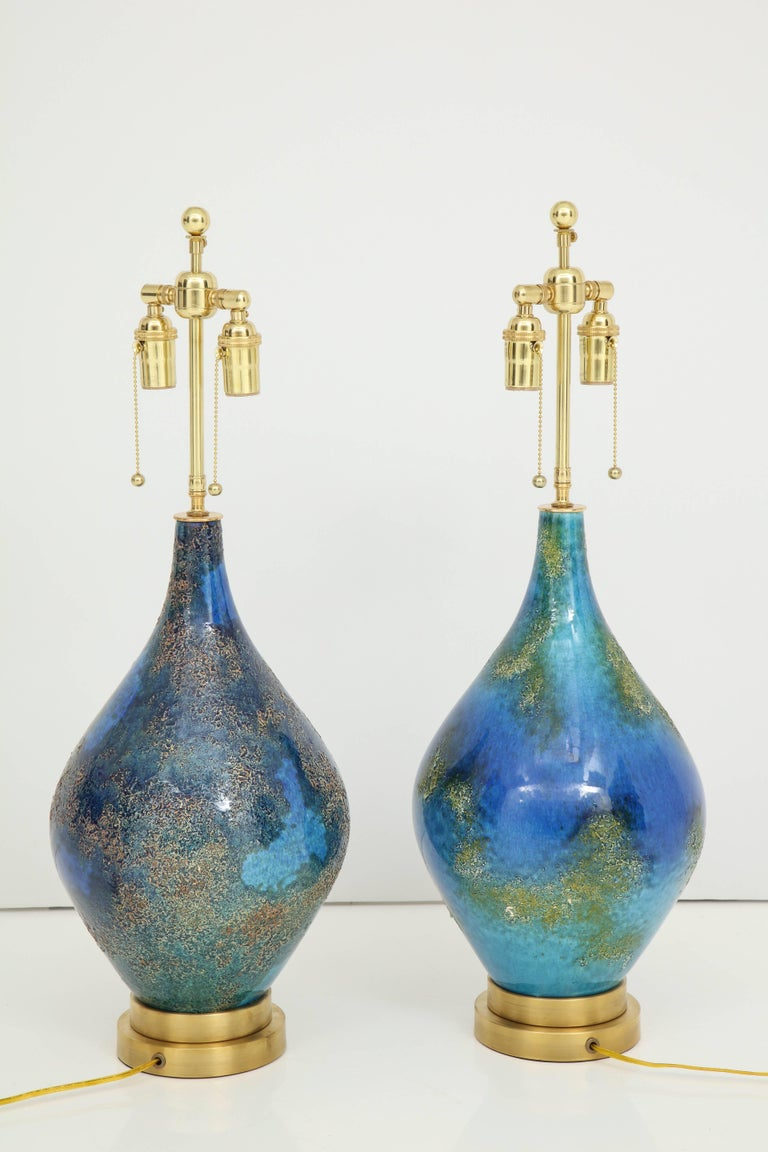 Pair of Volcanic Glazed Ceramic Lamps For Sale 1