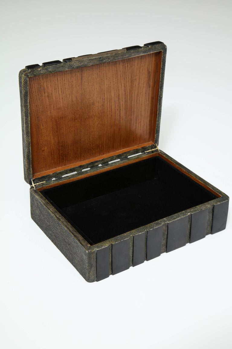 Art Deco Shagreen Decorative Box, Black Shagreen and Palm Wood Details For Sale