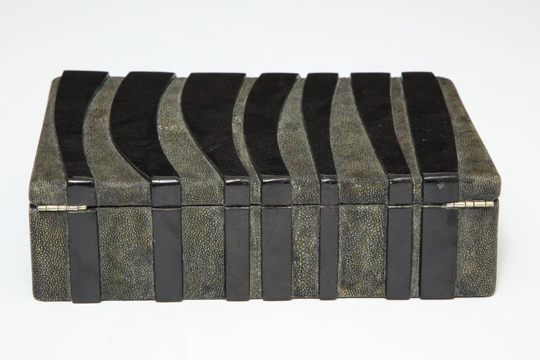 Shagreen Decorative Box, Black Shagreen and Palm Wood Details In Good Condition For Sale In New York, NY
