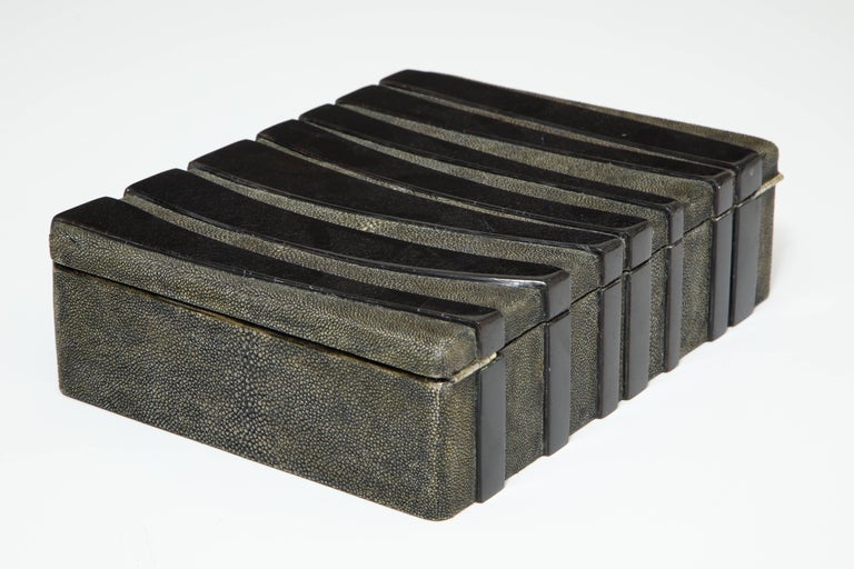 Contemporary Shagreen Decorative Box, Black Shagreen and Palm Wood Details For Sale