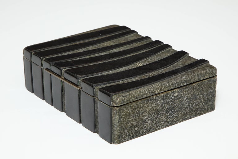 Brass Shagreen Decorative Box, Black Shagreen and Palm Wood Details For Sale