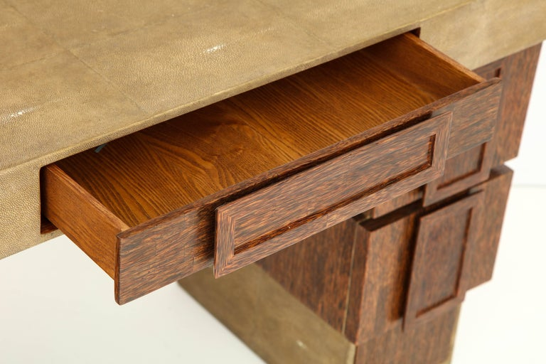 Hand-Crafted Shagreen and Palm Wood Desk, Offered by Area ID For Sale