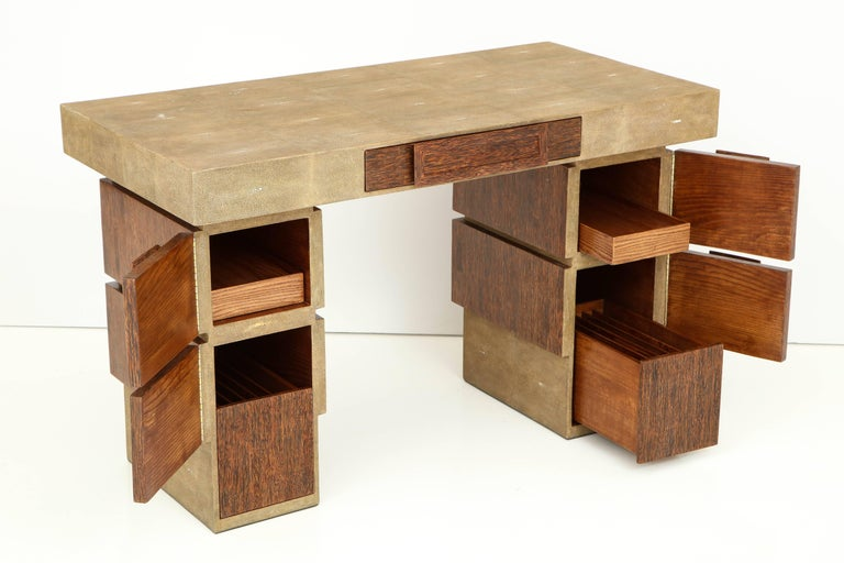 Shagreen and Palm Wood Desk, Offered by Area ID In Excellent Condition For Sale In New York, NY