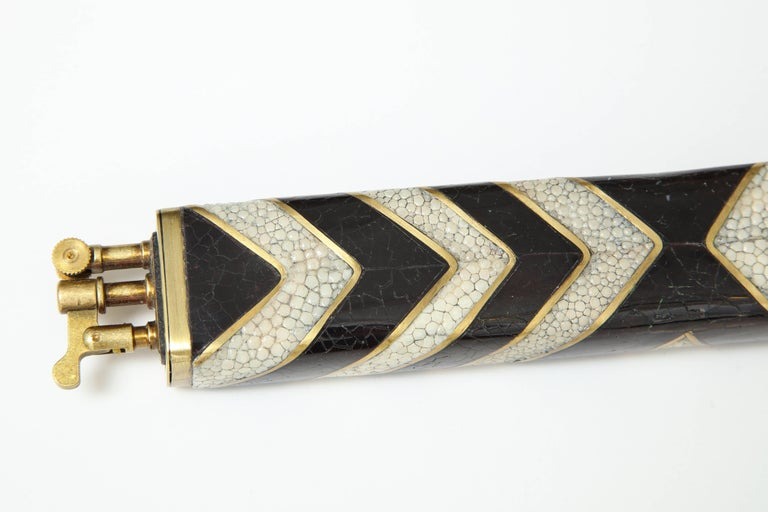 Art Deco Shagreen and Bronze Lighter, Offered by Area ID For Sale