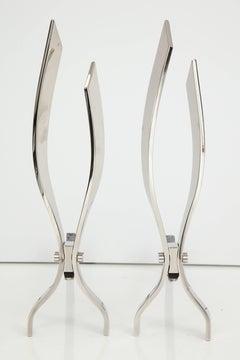 Modernist Polished NIckel Andirons