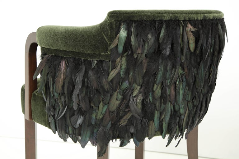 Austrian Mohair/Feather Art Deco Salon Chairs In Excellent Condition For Sale In New York, NY