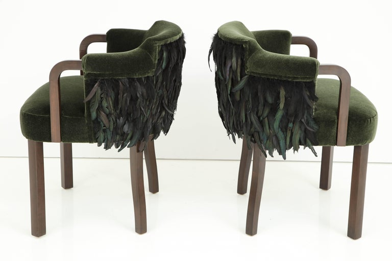20th Century Austrian Mohair/Feather Art Deco Salon Chairs For Sale