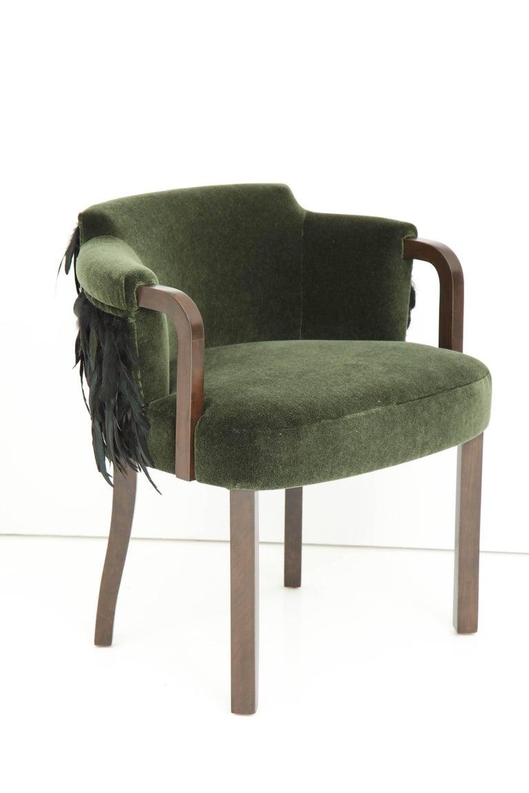 Austrian Mohair/Feather Art Deco Salon Chairs For Sale 3