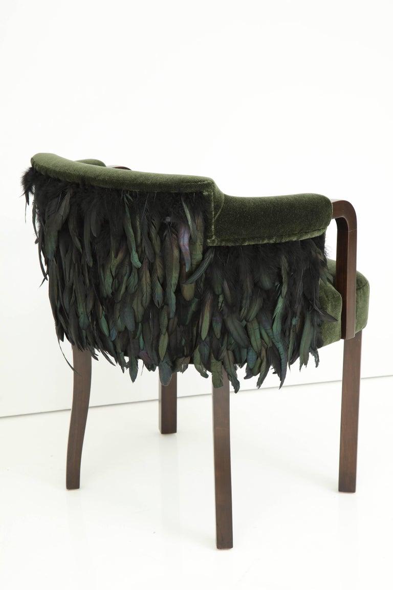 Austrian Mohair/Feather Art Deco Salon Chairs For Sale 4