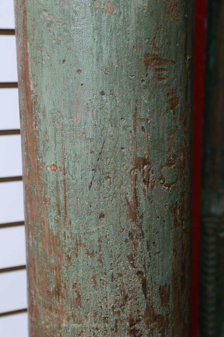 Indian Pair of Early 19th Century Solid Teak Wood Load Bearing Columns For Sale