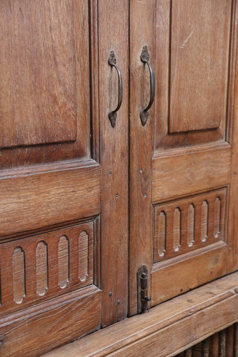 Hand-Crafted 1820s Solid Teak Wood Window from a Portuguese Colonial Cathedral For Sale