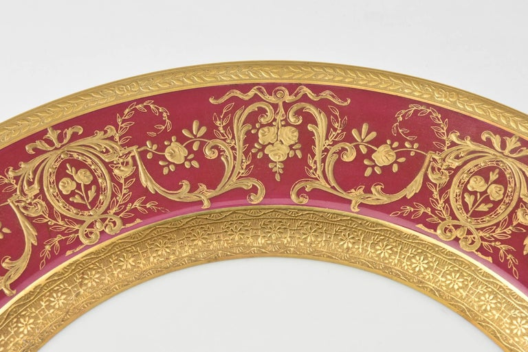 Extensive Rare Rich Ruby Gilt Encrusted China Dinner