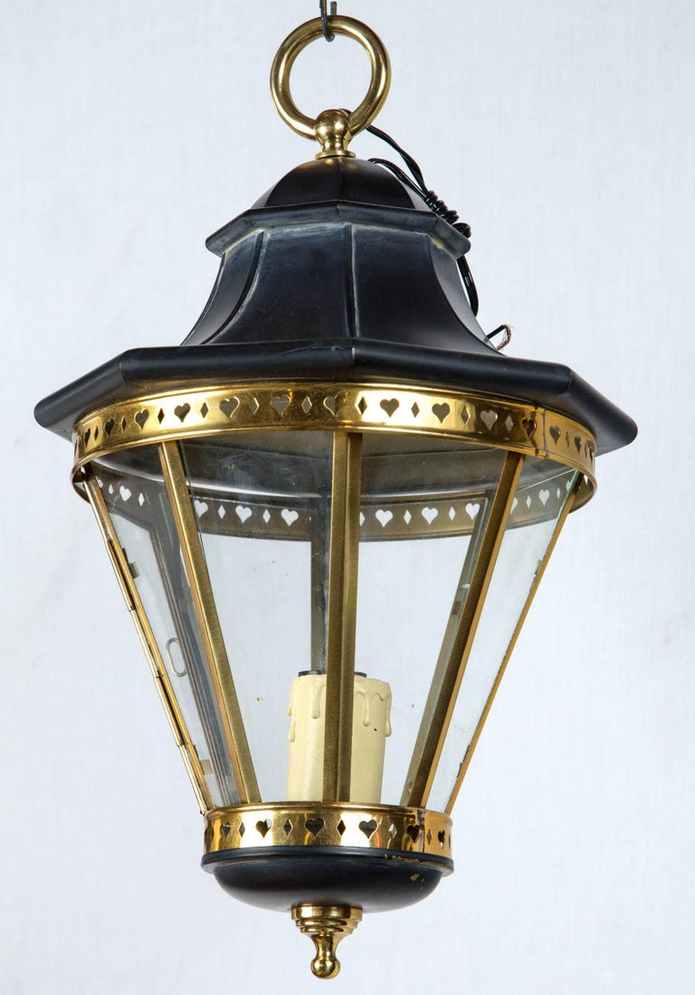 Late 20th Century 1970s Small Black and Brass Lantern For Sale