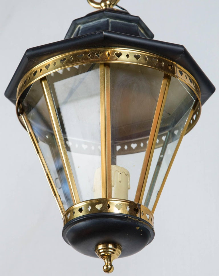 1970s Small Black and Brass Lantern For Sale 1