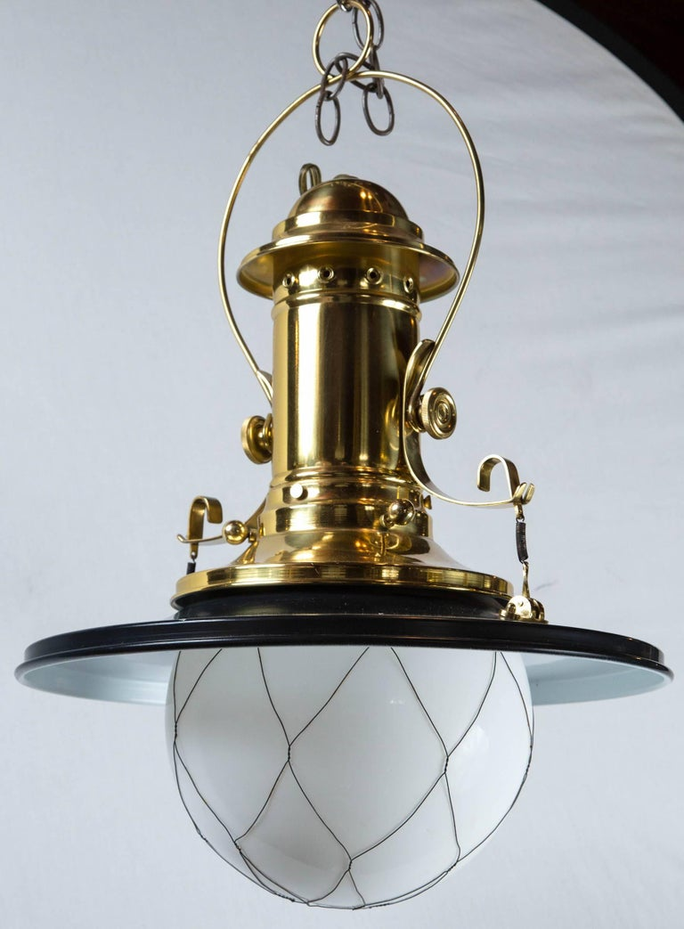 Wired White Globe Black and Brass Lantern In Excellent Condition For Sale In Stamford, CT