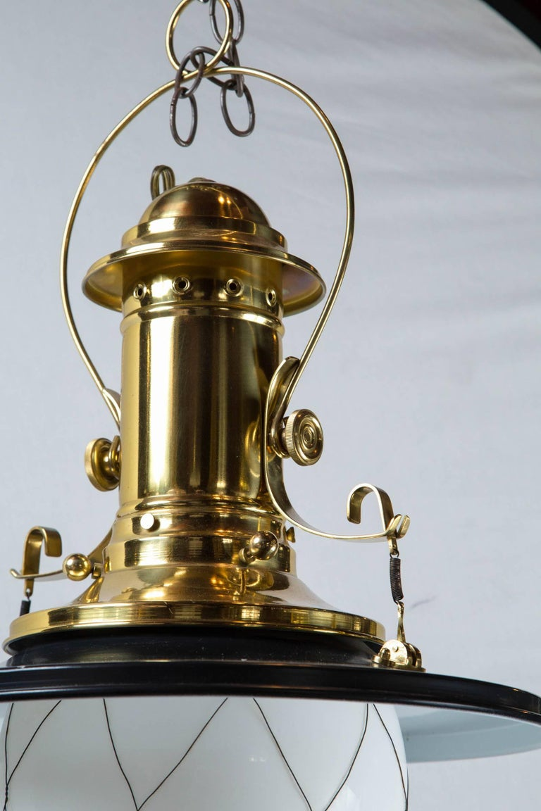 Late 20th Century Wired White Globe Black and Brass Lantern For Sale
