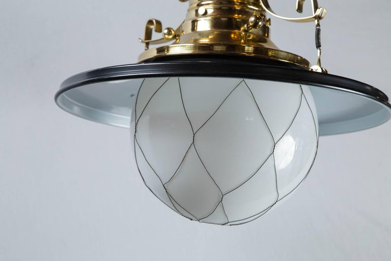 Wired White Globe Black and Brass Lantern For Sale 1