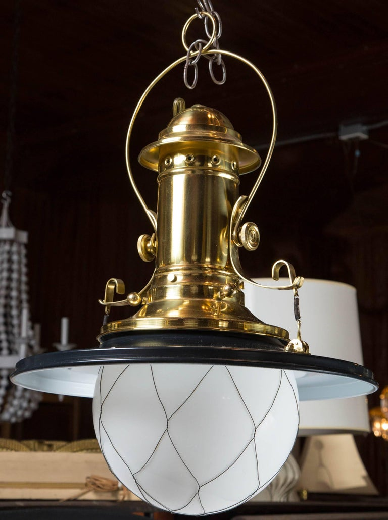 Wired White Globe Black and Brass Lantern For Sale 2