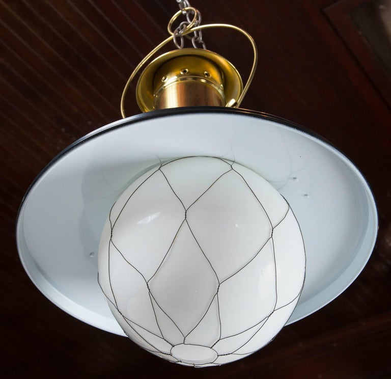 Wired White Globe Black and Brass Lantern For Sale 3