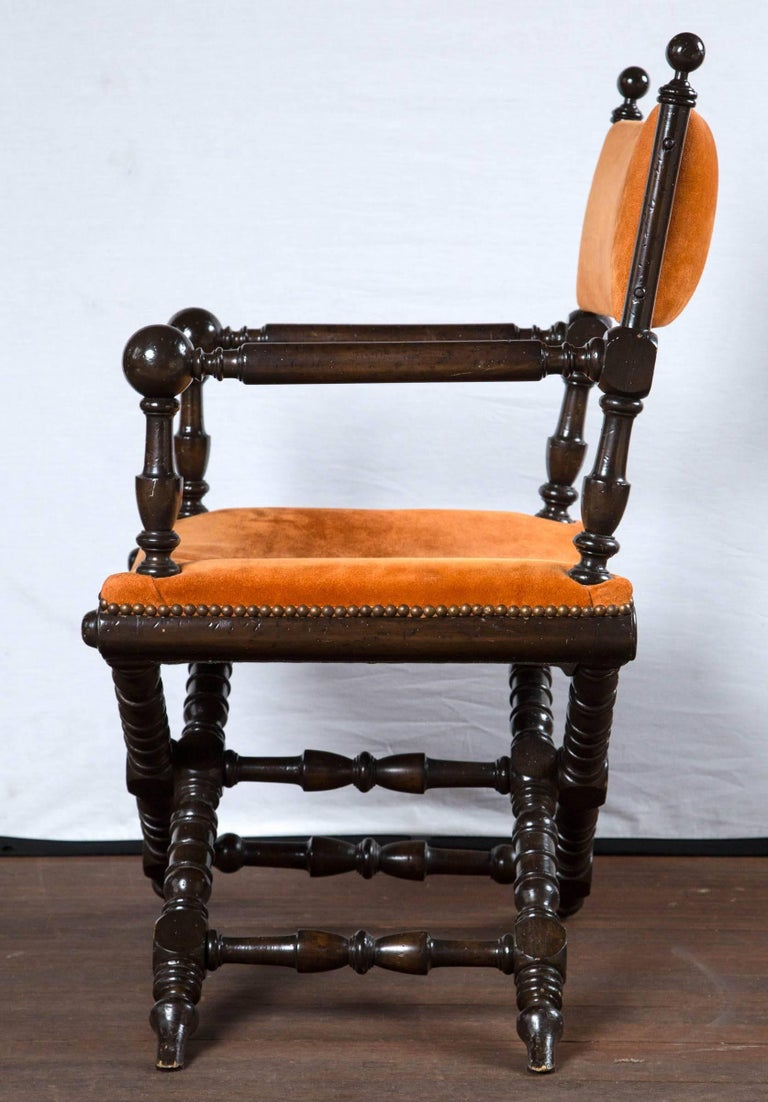Orange Suede Director's Chair In Good Condition For Sale In Stamford, CT