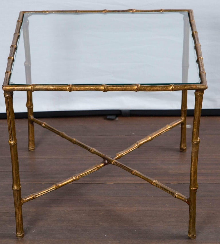Vintage gilt metal faux bamboo tables.