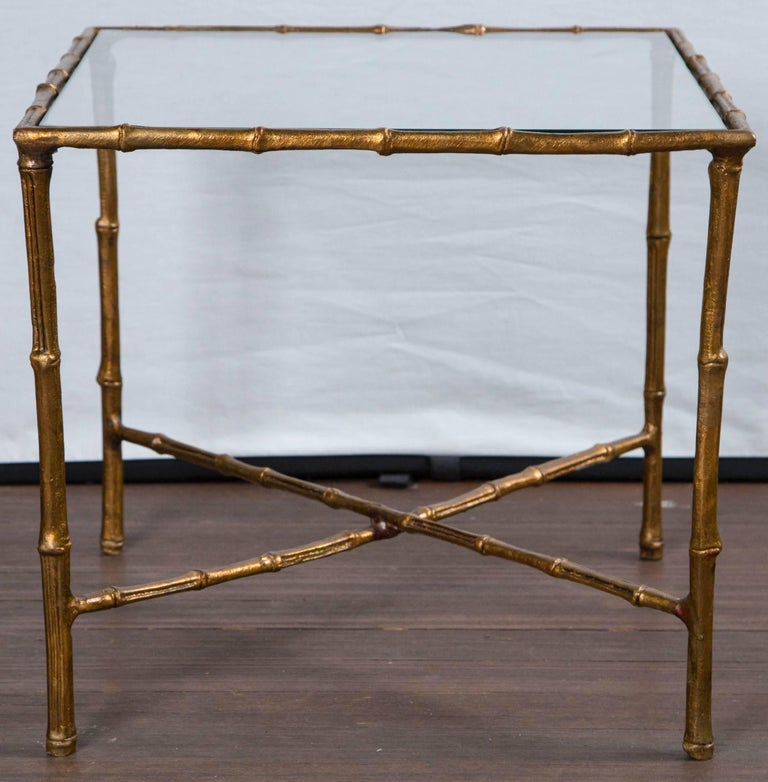 Hollywood Regency Pair of Gilt Metal Faux Bamboo Glass Top Tables For Sale