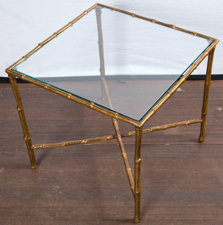 Pair of Gilt Metal Faux Bamboo Glass Top Tables In Excellent Condition For Sale In Stamford, CT