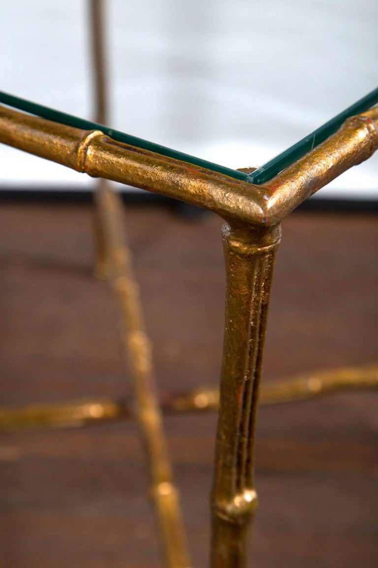 Pair of Gilt Metal Faux Bamboo Glass Top Tables For Sale 1