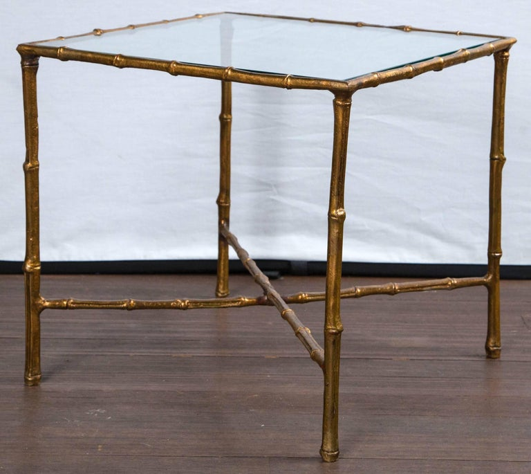 Pair of Gilt Metal Faux Bamboo Glass Top Tables For Sale 2