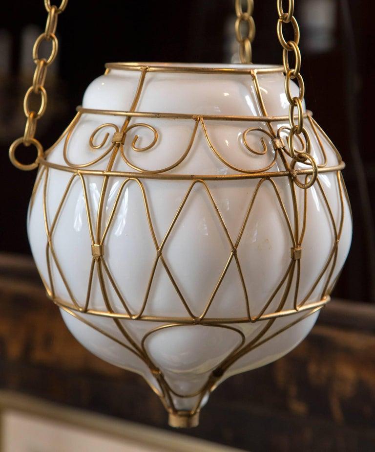 Moorish Moroccan White Glass Globe Hanging Pendant For Sale