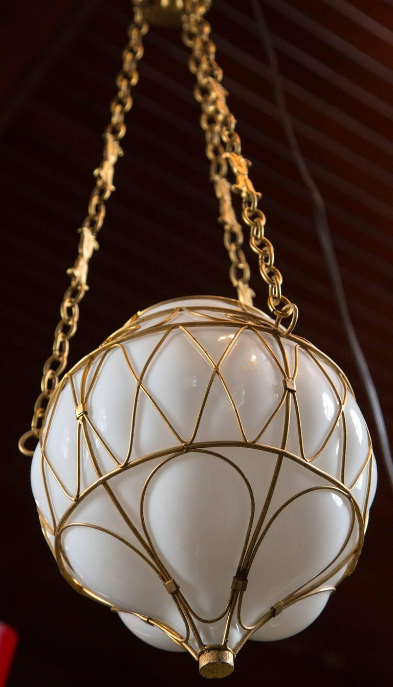 Moroccan White Glass Globe Hanging Pendant For Sale 1