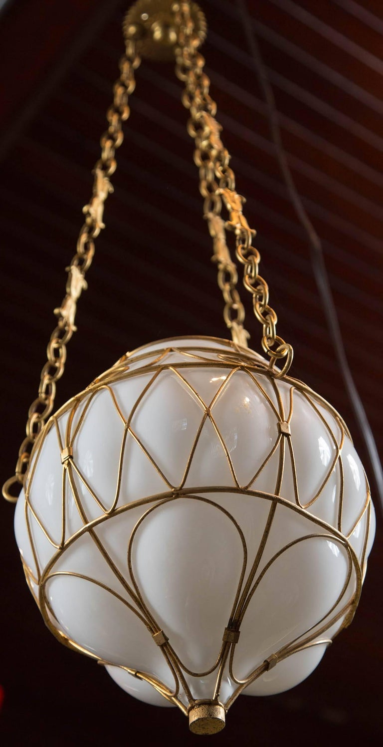Moroccan White Glass Globe Hanging Pendant For Sale 2
