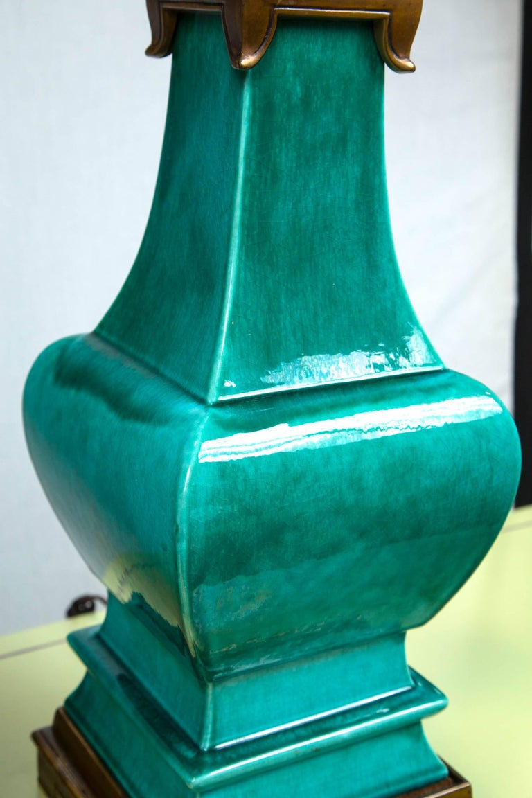 Pair of Midcentury Green Glazed Pagoda Style Stiffel Lamps For Sale 4