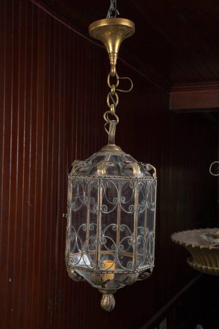 Mid-20th Century Octagonal Italian Metal Lantern For Sale