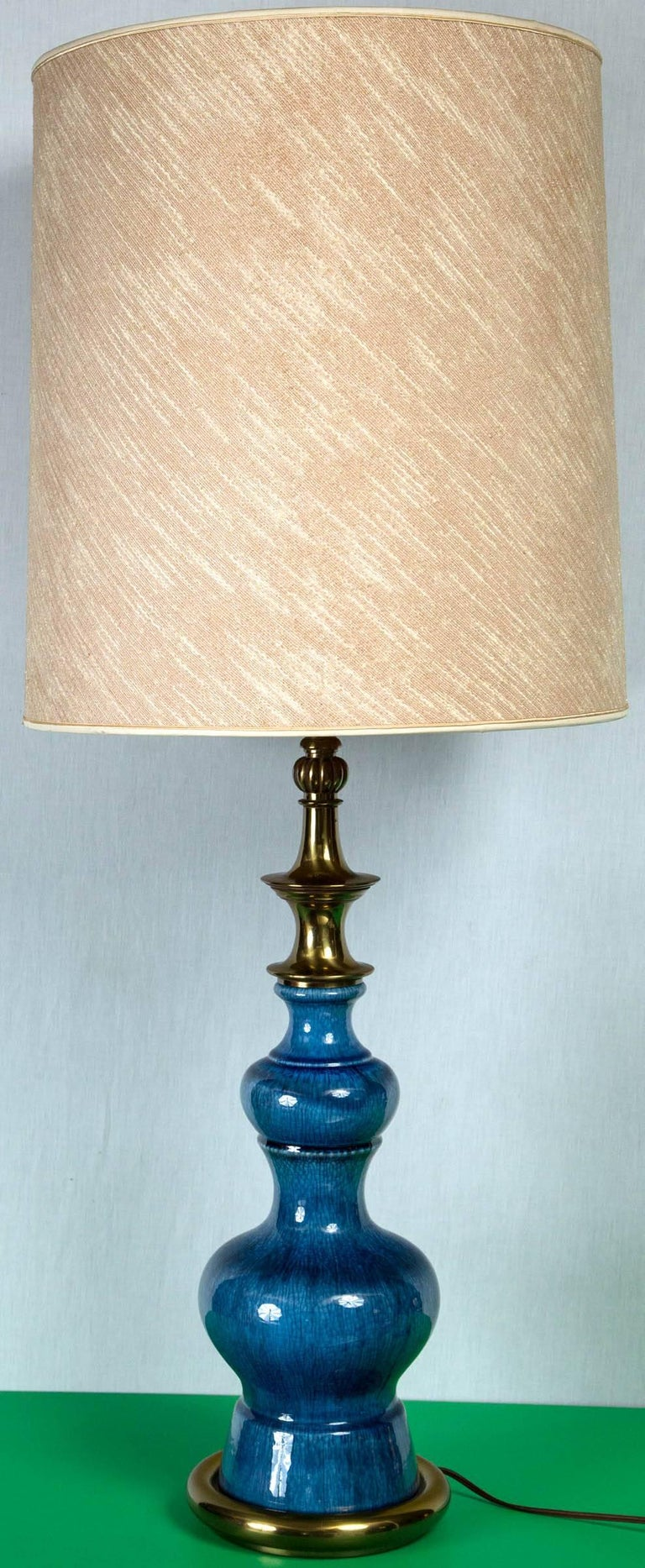 Pair of Midcentury Modern Blue Ceramic Stiffel Lamps with Original Shades For Sale 1
