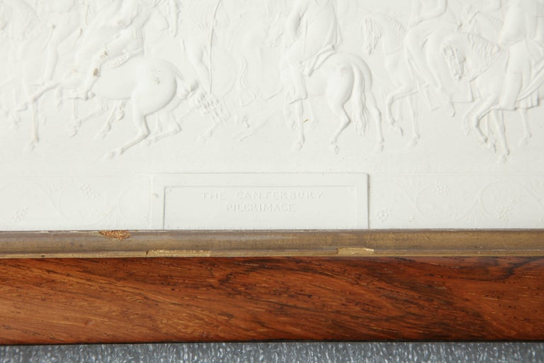 English Two 19th Century Plaster Plaques in Hardwood Frames For Sale