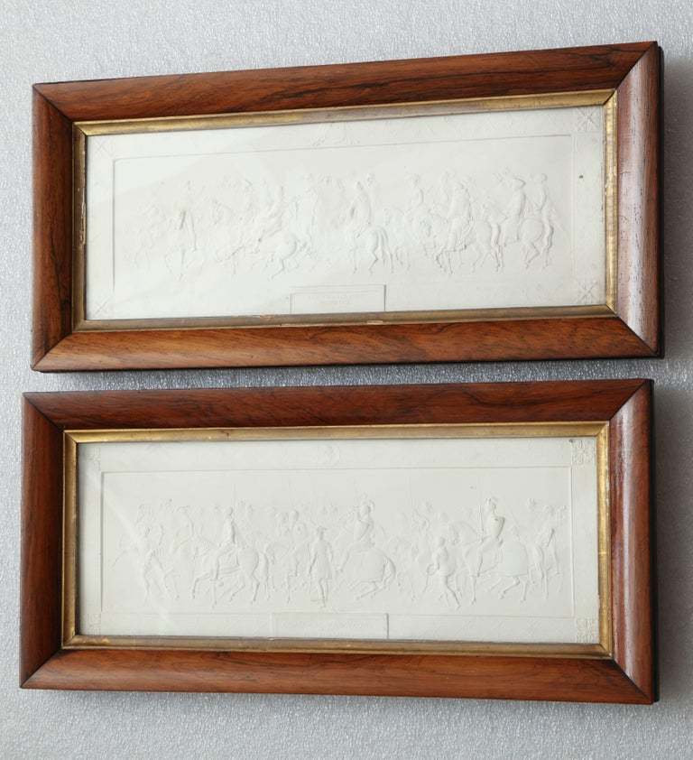 Two 19th Century Plaster Plaques in Hardwood Frames For Sale 4