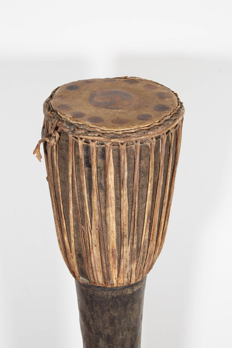 Tall, Primitive Antique Hill Tribe Drum from Thailand For Sale 1