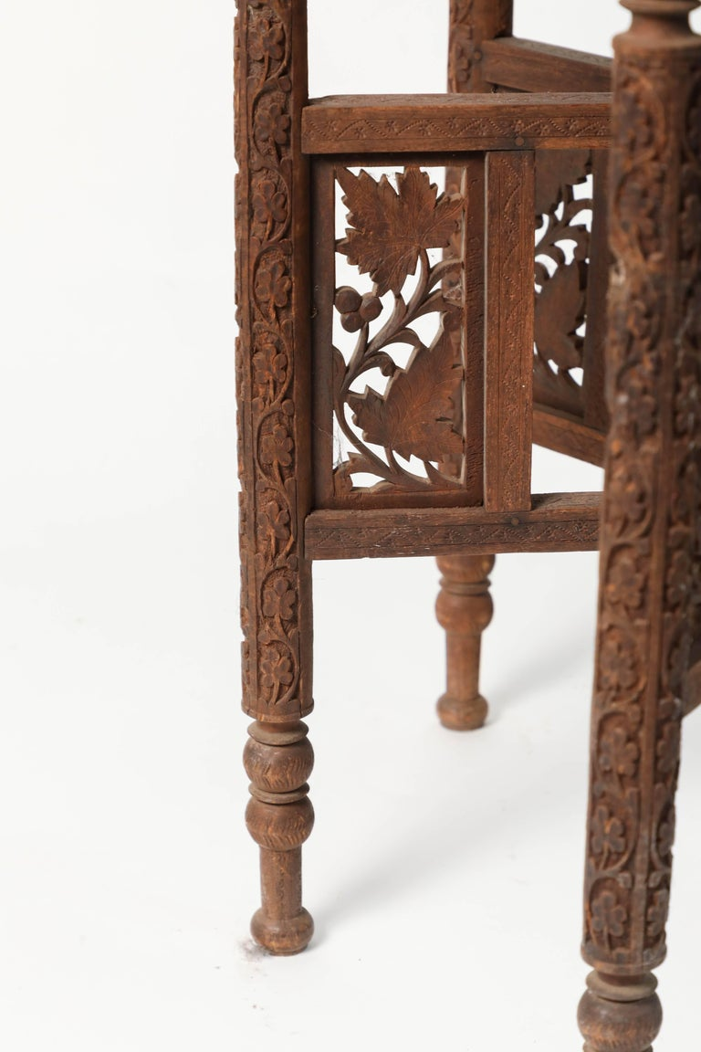 20th Century Middle Eastern Syrian Antique Brass Tray Table with Wooden Folding Stand For Sale