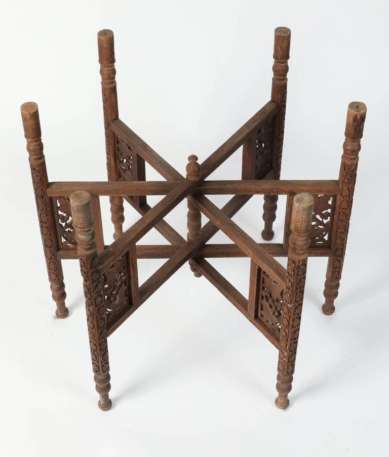 Middle Eastern Syrian Antique Brass Tray Table with Wooden Folding Stand For Sale 1