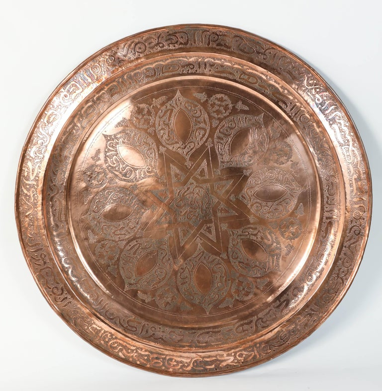 Coffee Table Copper Tray: Handcrafted Moroccan Round Copper Tray Table On Iron Base